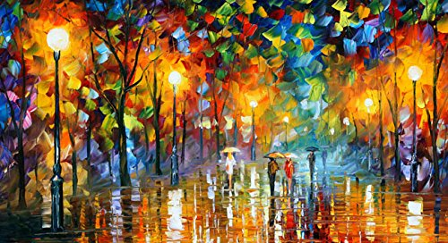 Van Eyck Walking Under The Street Lamp Colorful Palette Knife Oil Painting of Tree Wall Canvas Frame Art Prints Pictures for Home Decorations,16x20 Inches unframed,HD158 (Deco Canvas Print Art)