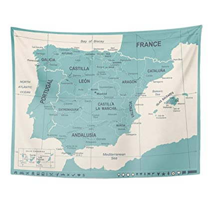 Amazon.com: YGUII Tapestry Wall Hanging Blue Aragon Spain ...