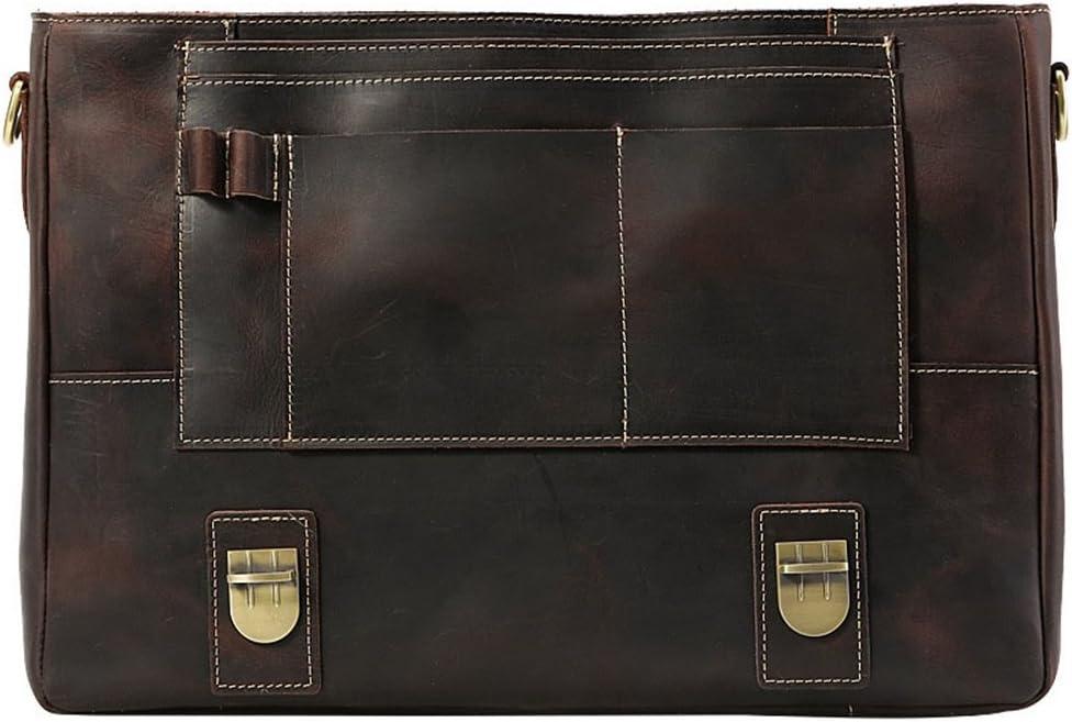 DQMSB Briefcase Leather Business Men Crazy Horse Leather Handbag Mens Shoulder Bag