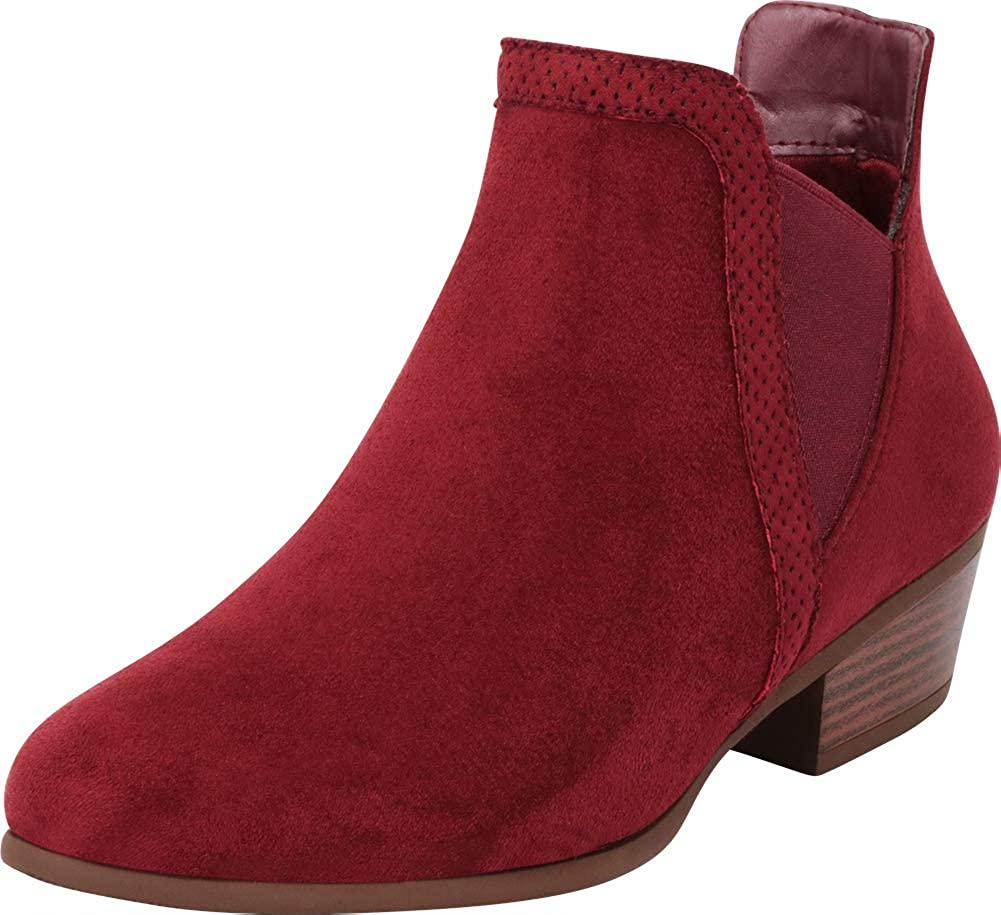 Wine Imsu Cambridge Select Women's V Cutout Chelsea Stretch Chunky Stacked Low Heel Ankle Bootie