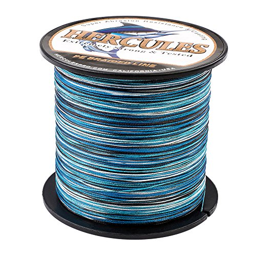 HERCULES Ultra Cast 300M 328 Yards Braided Fishing Line 20 LB Test for Saltwater Freshwater PE Braid Fish Lines Superline 8 Strands - Blue Camo, 20LB (9.1KG), ()