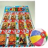 【台紙玩具】 時代めんこ (角めんこ10枚セット×12付) / お楽しみグッズ(紙風船)付きセット
