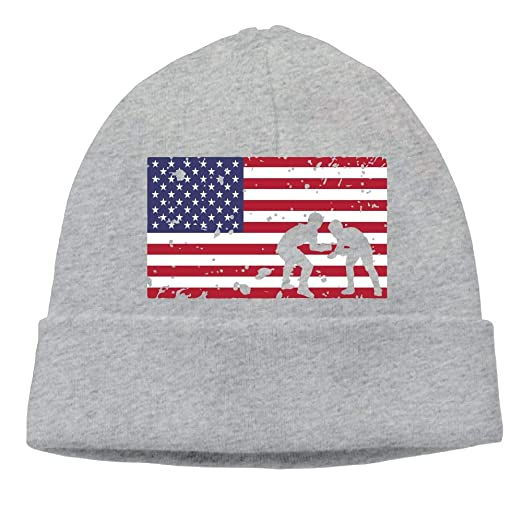 GDSG5 4 American Flag Wrestling Men Women Thick Running Beanie Hats ... 71401ce3dd3a