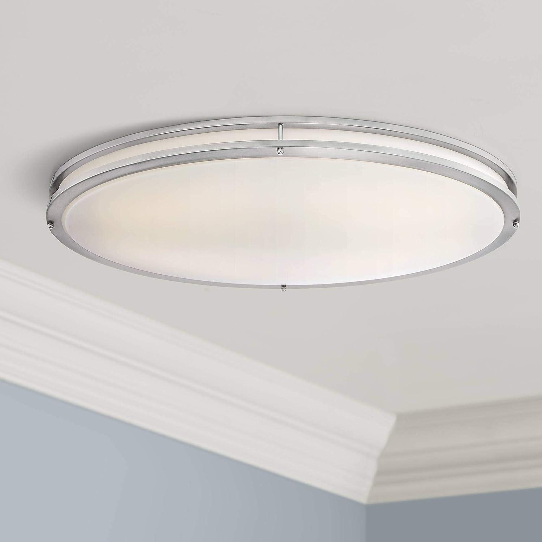 Leeds Modern Ceiling Light Flush Mount Fixture LED Satin Nickel 32 1/2 ...