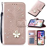 3D Crystal Flower Wallet Case for Samsung Galaxy S10,Aoucase Cute Pinapple Painted Diamond Magnetic Strap PU Leather Card Slot Shockproof Flip Stand Case with Black Dual-use Stylus,Rose Gold