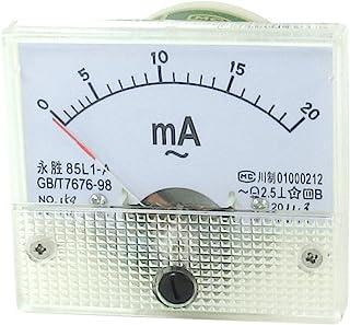 Sourcingmap a13061400ux0022 Un AC Rettangolare 0-20Ma Amperometro Strumento Analogico, Beige/Bianco