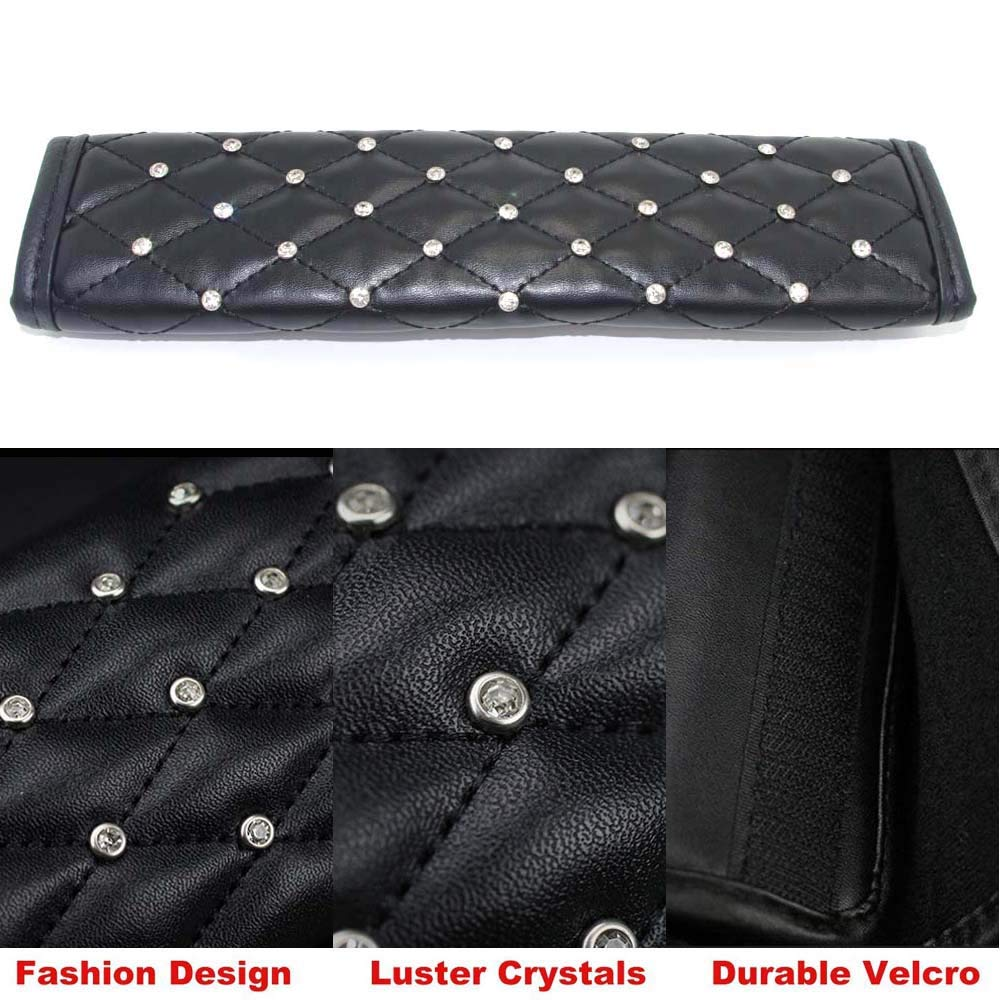 Universal Pursuestar 1Pc Bling Crystal Diamond Seat Belt Shoulder Pad with PU Leather Soft Velvet Rhinestones Cover Car Decor Accessories for Women