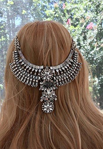 Gypsy Native American Jewelry Boho tribal headpiece with silver beads
