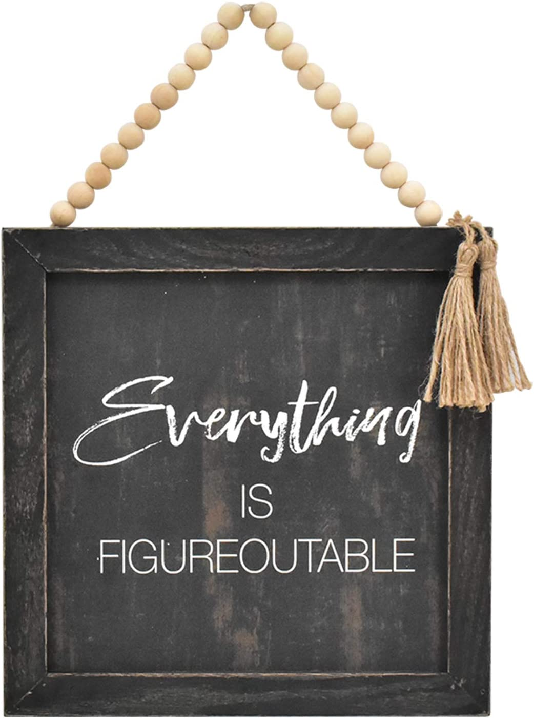 Parisloft Everything is Figureoutable Wood Framed Wall Sign with Wood Bead String Hanger,Rustic Farmhouse Wood Wall Hanging Decor,Black