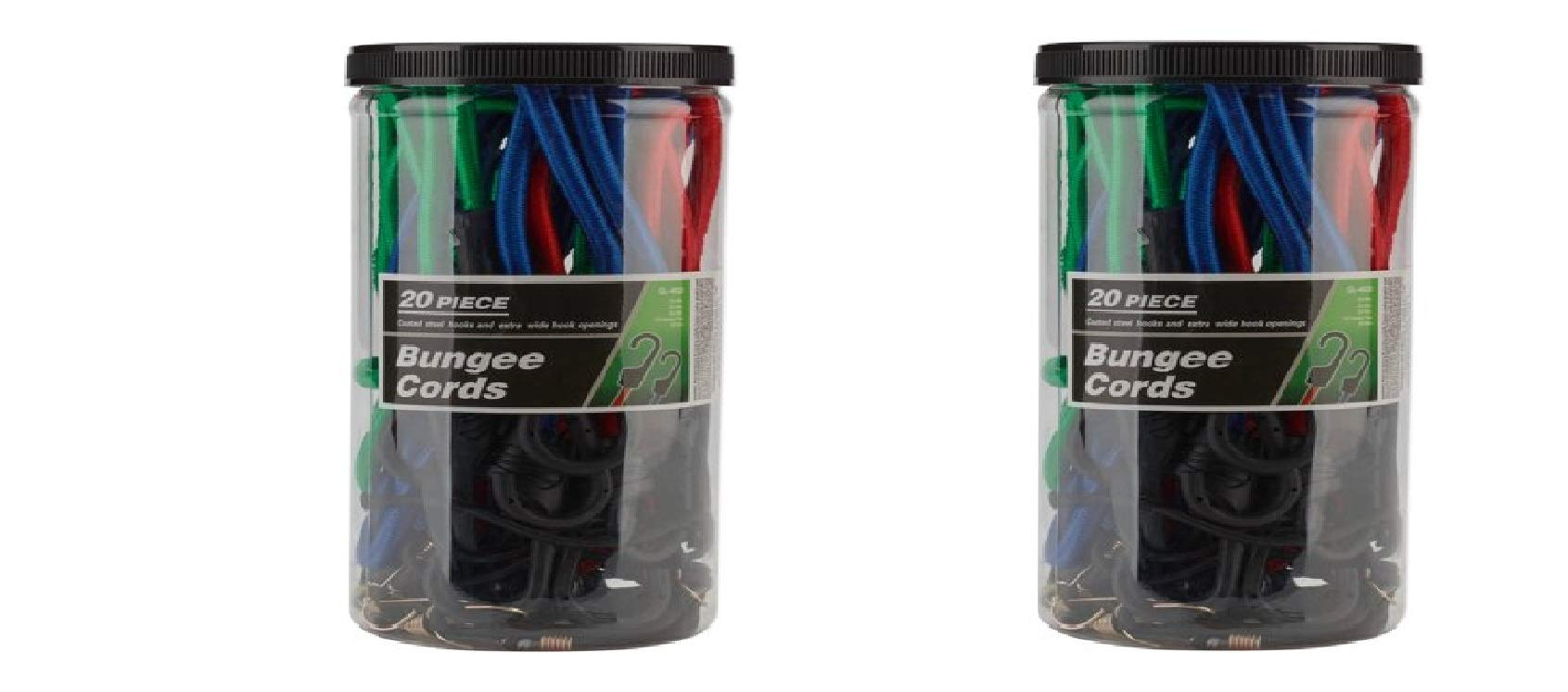 Pack of 2 - Bungee Cord Set, 20pc/Pack - Great For Hooking Items Together Or Field Work, Made Of Rubber, PP And Steel