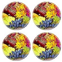Luxlady Natural Rubber Round Coasters IMAGE ID: 23251213 Grape pomegranate fall decoration