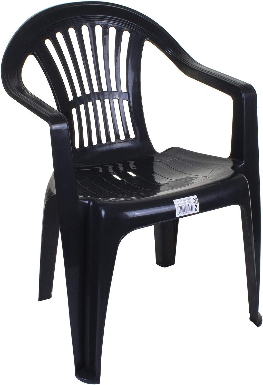 Marko Outdoor Garden Plastic Chair Stacking Chair Patio Outdoor Armchair Low Back Heavy Duty Amazon Co Uk Garden Outdoors