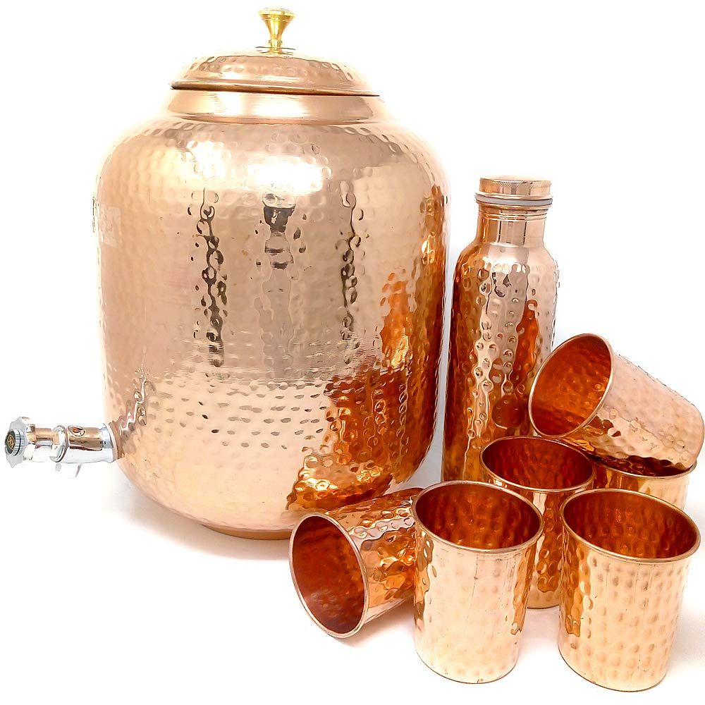 Dungri Hammered Copper Water Dispenser Stoarge Pot Matka 12 Ltr (405 Ounce) With 6 Copper Tumbler Glass & 1 Copper Bottle For Ayurvedic Health Benefits