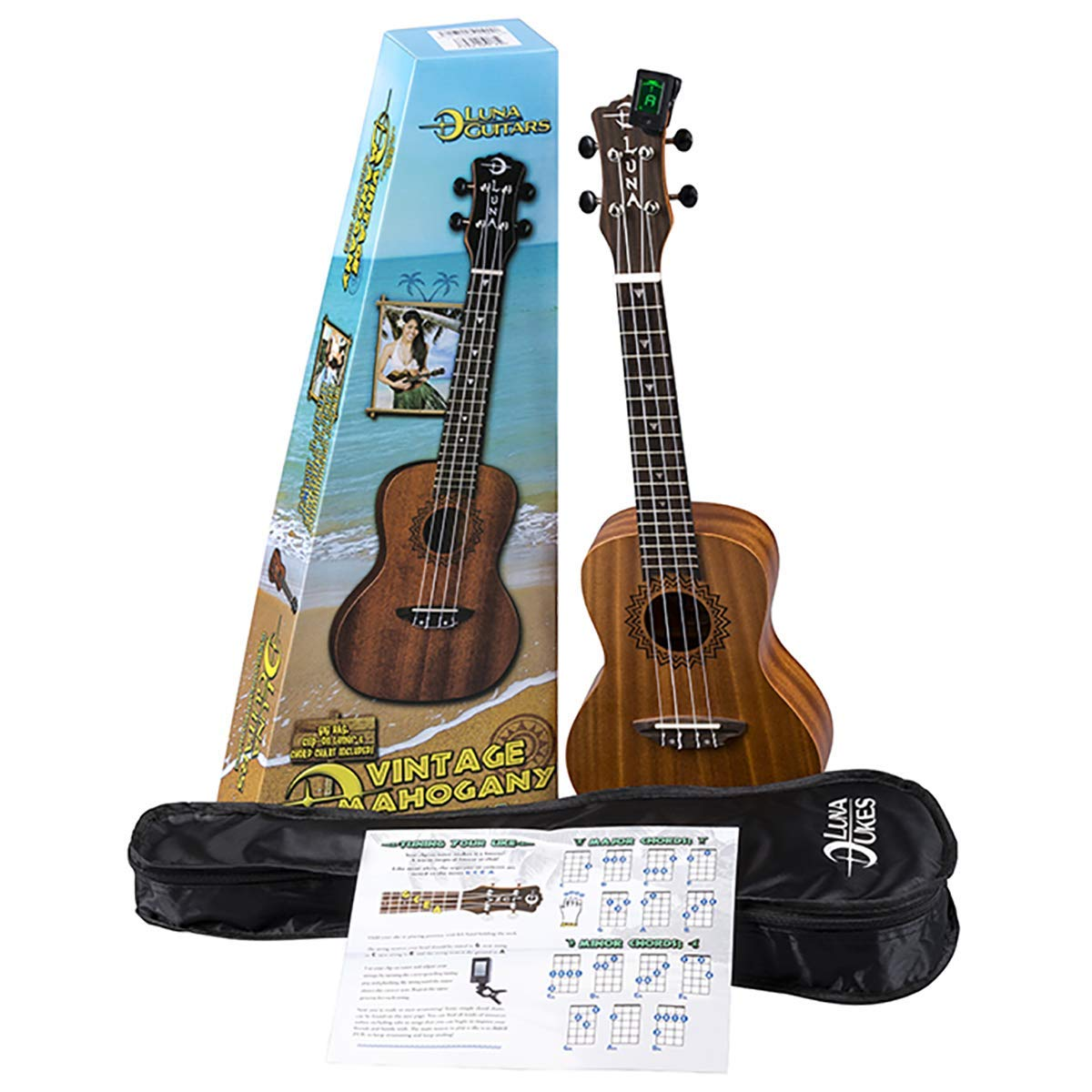 Luna Vintage Mahogany Concert Ukulele Pack with Tuner and Bag by Luna Guitars