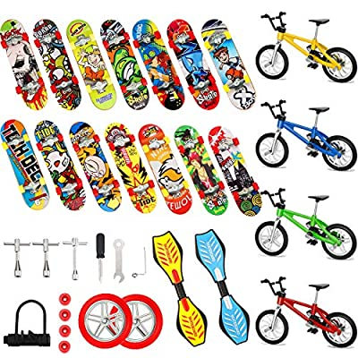 Gejoy 29 Pieces Mini Finger Toys Set Finger Skateboards Finger Bikes Tiny Swing Board Fingertip Movement Party Favors Replacement Wheels and Tools: Toys & Games