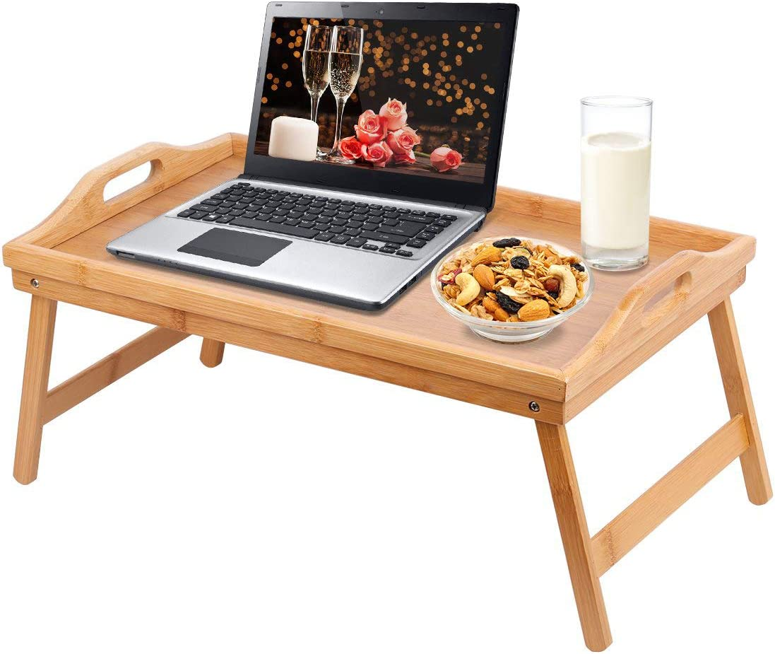 Jibanie Bamboo Bed Breakfast Folding Tray-Laptop Desk Great for Dinner Tea Bar TV Eating Tray Stable