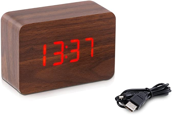 kwmobile Réveil Bois LED Horloge Digitale Aspect Bois Réveil Matin Tactile avec Fonction Date Heure Température Rectangle Marron et LED Rouge