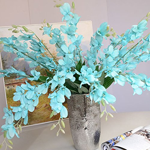 Mokylor 10 Pack Artificial Orchid Flowers, Fake Dancing Lady Orchid Butterfly Flower for Wedding Home Office Party Hotel Restaurant Patio or Yard Decoration (Tiffany Blue) - Oncidium Orchid Care