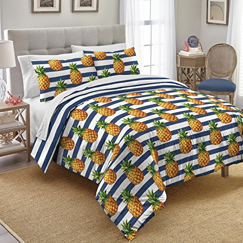 Preppy Sand Print (Destinations Preppy Pineapple Cotton Comforter Set, King, White)
