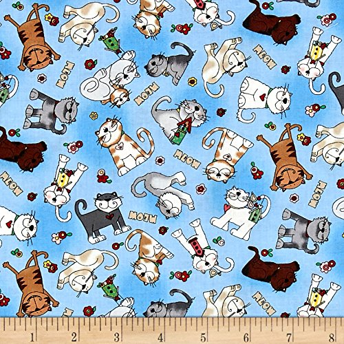 - Love is a Four Legged Word Tossed Cats Blue Fabric By The Yard