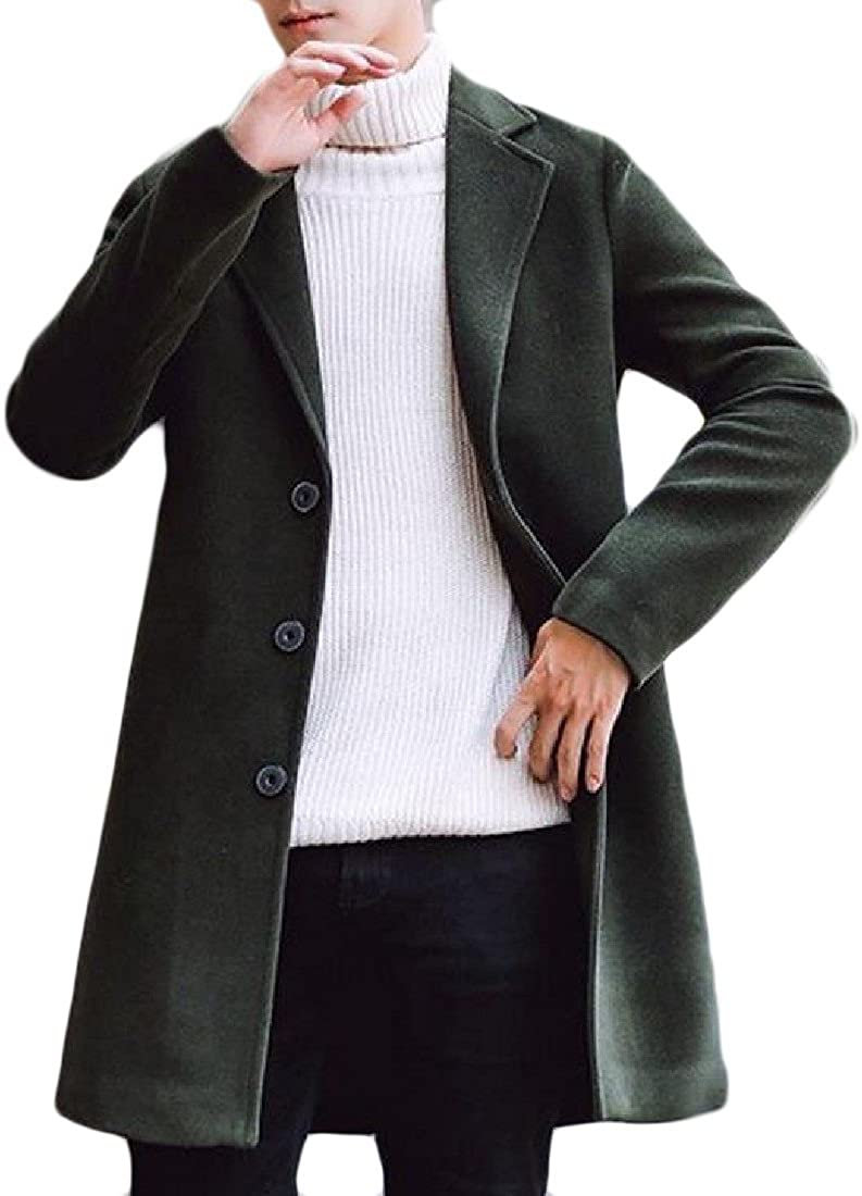Comfy Mens Golilla Button Down Mid-Long Solid-Colored Woolen Peacoat