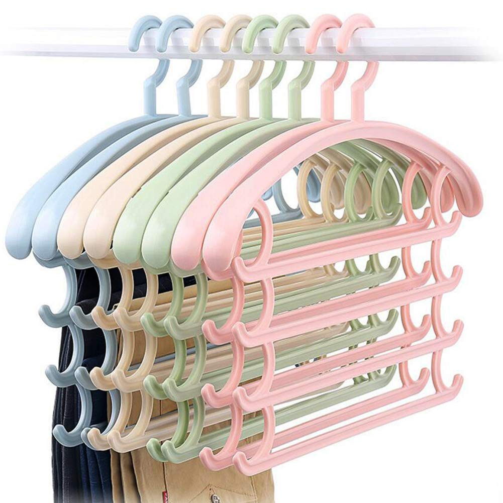 ReJeffer Multiuse Space Saving Clothes Hanger for Coat Trousers Scarf Non Slip 4 Hanging Wardrobe Organizer Set of 3 (Blue Set of 3)