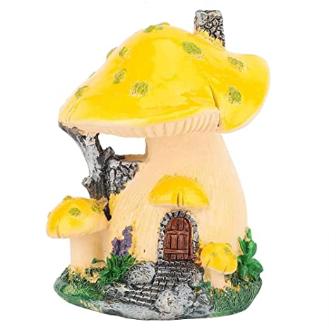 Toadstool décoration de jardin 3 Tête Champignon Sculpture Decor Statue Beige Résine
