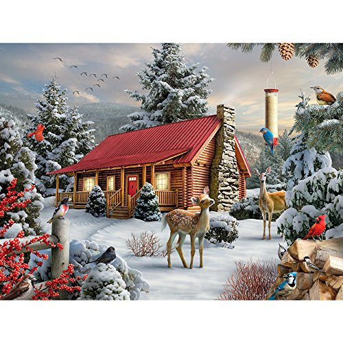 Bits and Pieces - 300 Large Piece Jigsaw Puzzle for Adults - New Friends - 300 pc Snowy Winter Scene Jigsaw by Artist Alan Giana