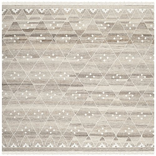 Safavieh Natural Kilim Collection NKM316B Flatweave Natural and Ivory Wool Square Area Rug (7
