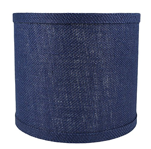 Urbanest Classic Drum Burlap Lampshade, Spider-Fitter, 8-inch by 8-inch by 7-inch, Navy Blue