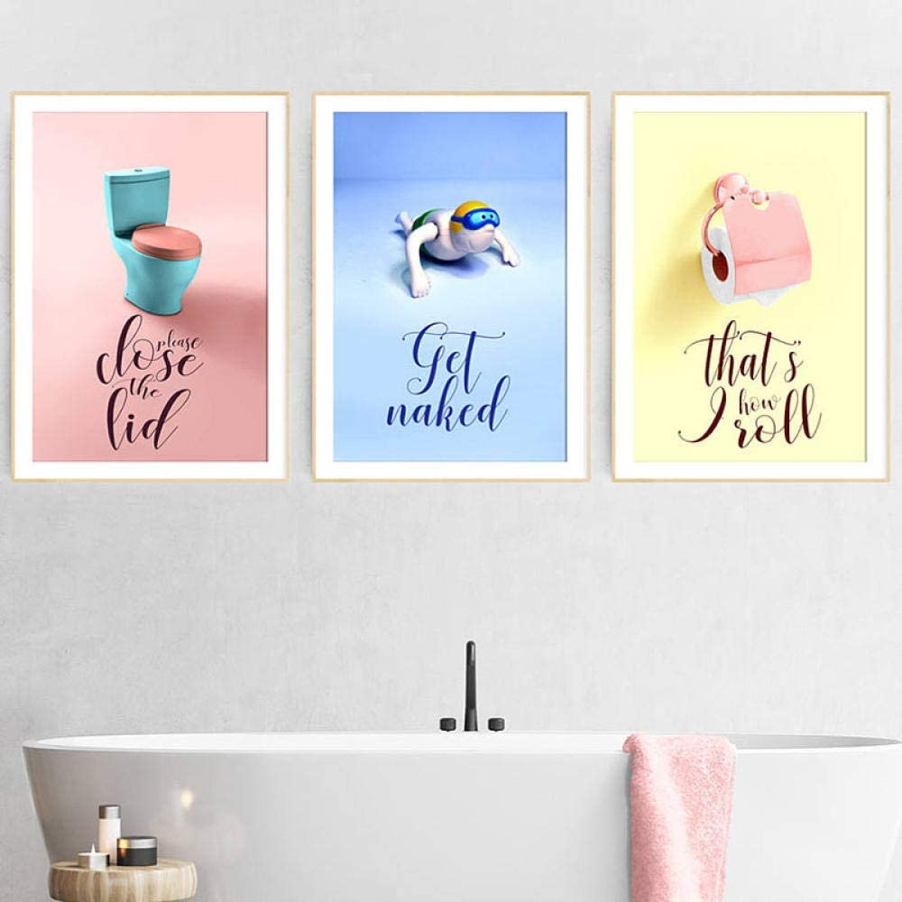 Amazon Com Funny Kids Bathroom Art Posters And Prints Pink Navy Blue Toilet Cartoon Canvas Painting Wall Art Pictures For Home Decoration 40x60cmx3 No Frame Posters Prints