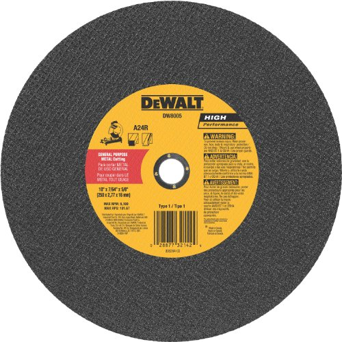 - DeWalt DW8005 10 x 7/64 x 5/8 General Purpose Metal Chop Saw Wheel