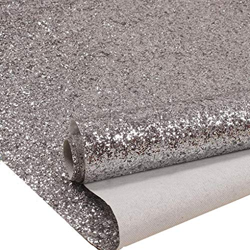 27in by 197in Silver Chunky Glitter Wallpaper, 3D Sparkly Glitter Fabric Wall Paper,Bling Wallcovering ()