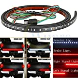 Wiipro Universal 60 Inches Red/White Tailgate Rigid LED Strips Light Bar Reverse Parking Brake Turn Signal Lights for Trucks Ford Dodge Ram Chevy Silverado Chevrolet GMC Toyota Nissan Honda