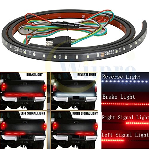Wiipro Universal 60 Inch Red/white Tailgate LED Strip Light Bar Reverse Brake Turn Signal Tail for Ford GMC Toyota Nissan Honda Truck SUV 4x4 Dodge Ram Chevy chevrolet Avalanche Silverado (1500 Truck Turn Signal)
