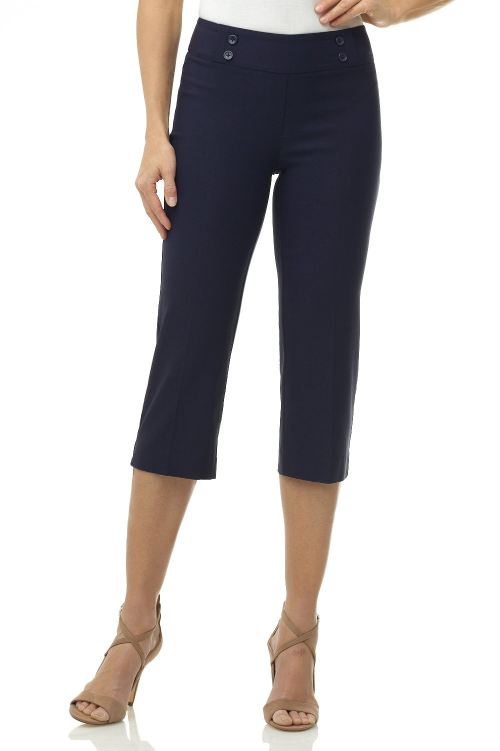 Rekucci Women's Ease in to Comfort Fit Capri with Button Detail (16,Navy)