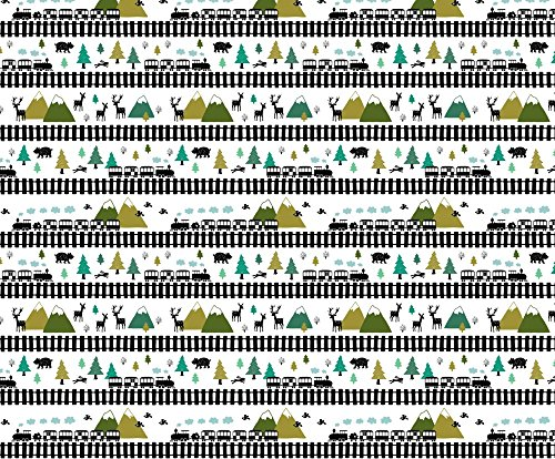 Train Track Fabric Train Tracks In The Mountains (Small) by Heleen Vd Thillart Printed on Silky Faille Fabric by the Yard by Spoonflower