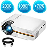 ELEPHAS LED Video Projector, Updated LCD Technology Support 1080P Portable Mini Multimedia Projector Ideal for Home Theatre Entertainment Games Parties, White