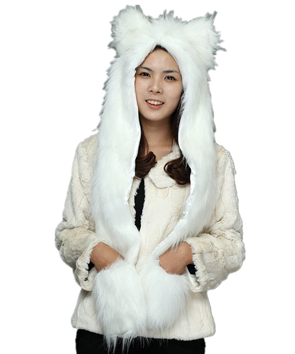 JOYHY Unisex Adults Teenagers Faux Fur Fluffy Animal Hat with Paws JY JY-2948