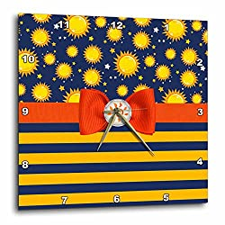 3dRose Anne Marie Baugh - Designs - Cute Suns and Stars Over Bold Stripes With Digital Bow - 10x10 Wall Clock (dpp_282915_1)