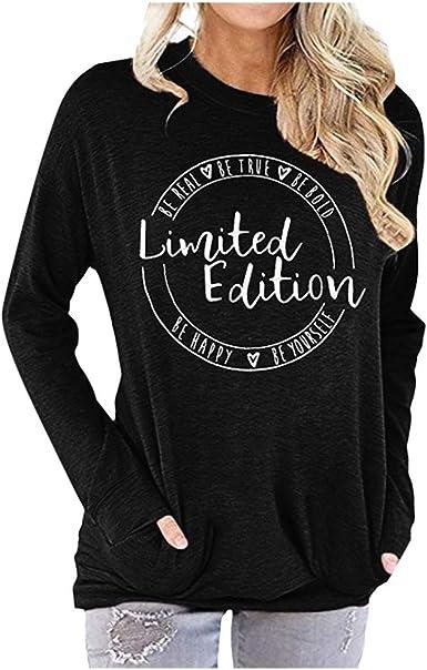 Luckycat Camiseta Mujer Moda Manga Larga Casual Letra Impresión Camiseta Sudaderas Invierno Jersey Tumblr Mujer Otoño Primavera Blusa Tops Suéter Mujer Abrigo Deportiva Túnica Tops: Amazon.es: Ropa y accesorios