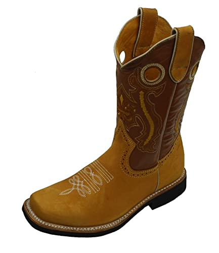 latest trends factory outlet delicate colors Children Youth Sizes Cowboy Boots Leather Square Toe Rodeo Boys Western  Plain