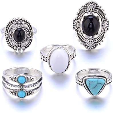 MSYOU - Juego de anillos para mujer, 5 piezas, bohemio, diseño vintage, personalizable, exquisito regalo de joyería ...