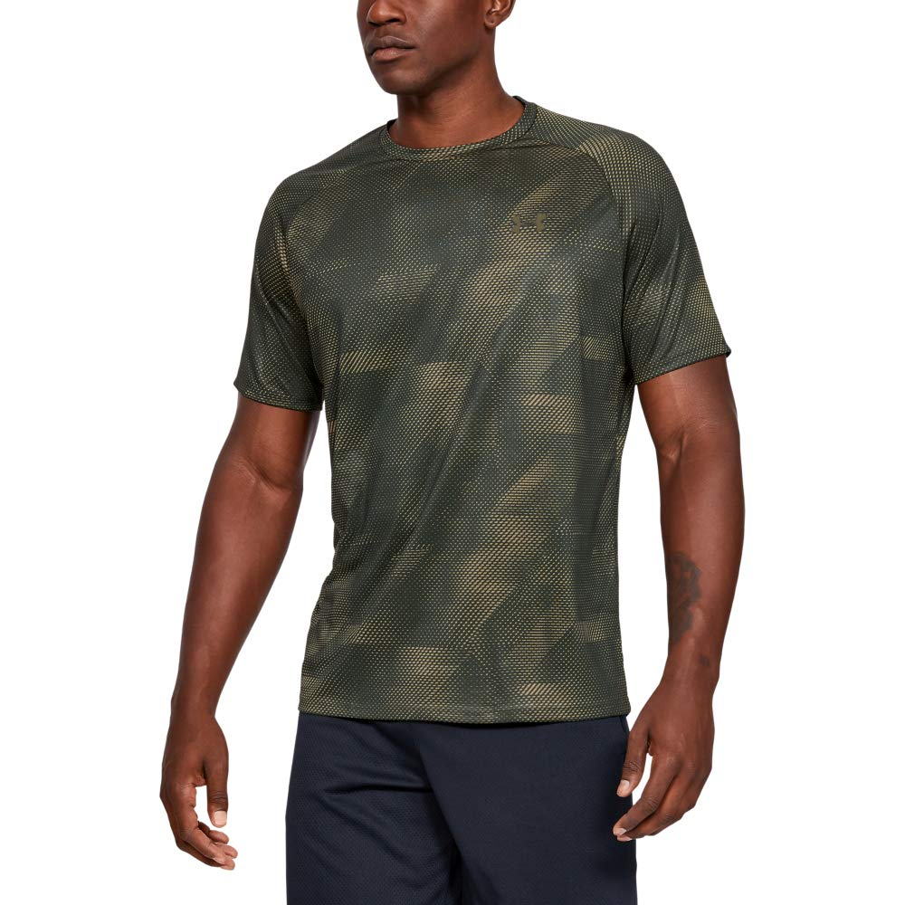 Under Armour Tech Printed Short-sleeve Shirt, Baroque Green (310)/Outpost Green, XX-Large by Under Armour
