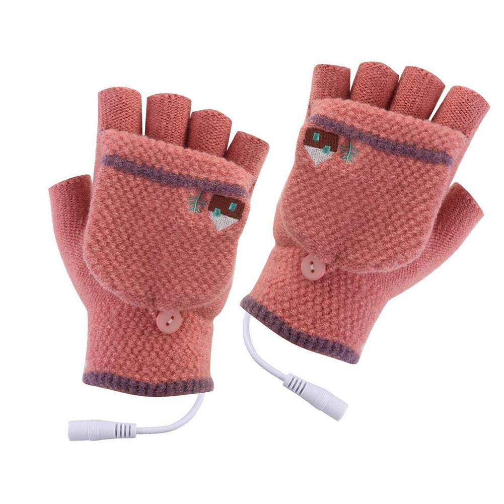 Allgreen USB Rechargeable Heated Gloves, Double Sided Electric Heating Knitted Gloves, Removable Washable Warm Typing Gloves