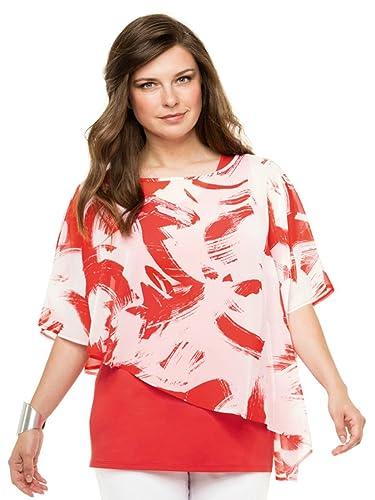 Doris Streich – Camisas – Floral – Manga corta – para mujer rojo 44