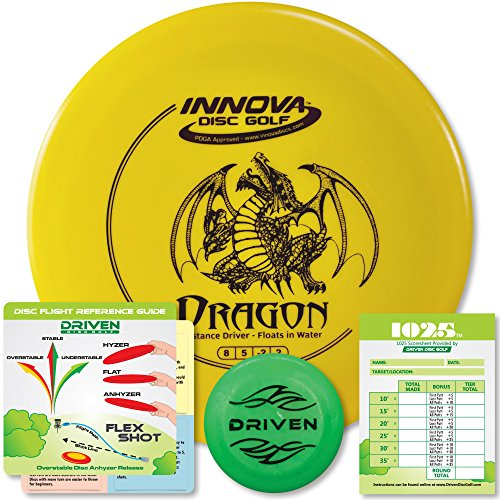 (Innova Dragon - Floats in Water - 150-160 Gram Ultralight Disc Golf Driver - Perfect for Beginners - Includes 1025 Putting Game - Flight Reference Card - Driven Mini Marker | Disc Colors Vary)
