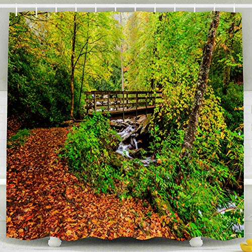 Shorping 78x72 Shower Curtain,Kids Shower Curtain, The Great Smokey Mountains National Park Bridge Waterfall Hiking Trail Falls Colors Waterproof Decor Bathroom Set with Hooks