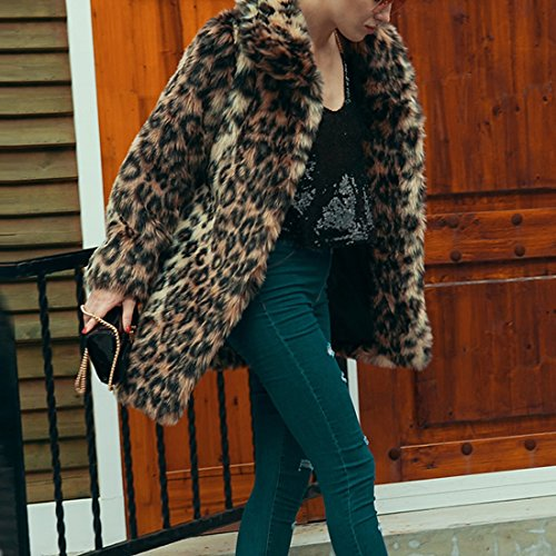 de Piel Estampado Cálido Pelo de Cárdigan Sintética Grueso Abrigo Invierno con Abrigo de de Abrigo de Piel Leopardo Manga Sintética Femenino de de Abrigo Abrigo Invierno Cálido Larga de 4q87R6xwX