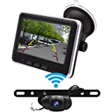 Wireless Backup Camera Monitor Kit,Accfly IP68 Waterproof Rear View Camera Wireless with Parking Reverse Safety Distance Scale Lines,for Cars,SUV,Minibus,Minivan
